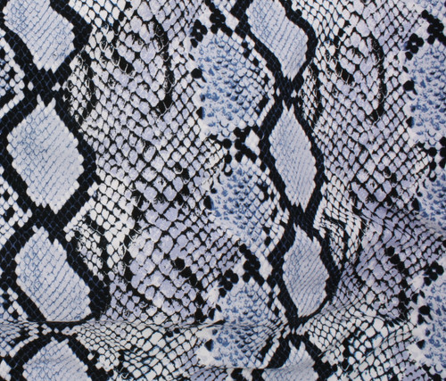 GREY, BLUE SNAKESKIN 95% RAYON 5% SPANDEX KNIT FABRIC ~ SOLD BY THE 1/2 YARD