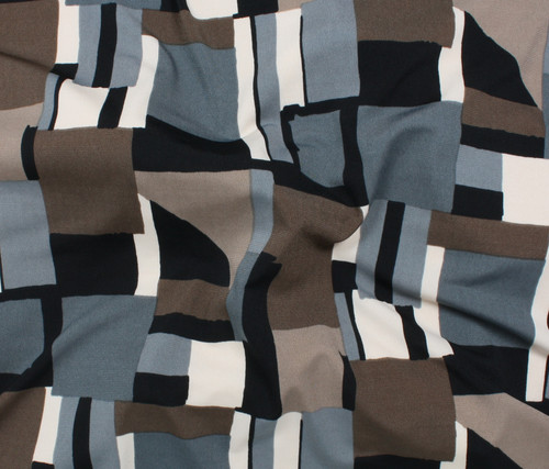 GREY, BLACK, BROWN MULTI-COLORED PRINT 95% RAYON 5% SPANDEX KNIT FABRIC