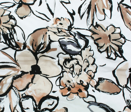 BROWN, GREY, FLORAL PRINT 95% RAYON 5% SPANDEX KNIT FABRIC