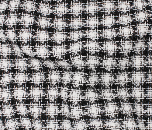 BLACK WHITE SPARKLE WEAVE POLYESTER TWEED - SOLD BY THE 1/2 YARD