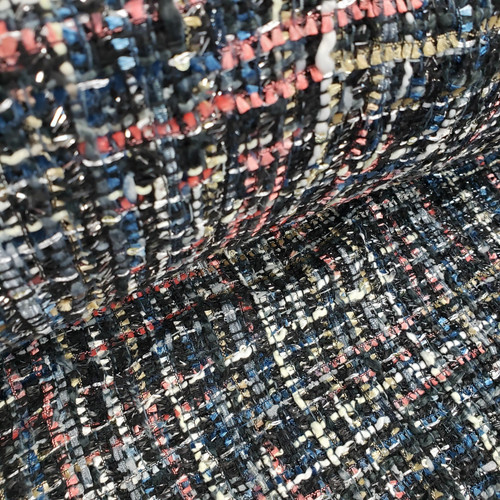 BLACK CORAL SILVER MULTI COLOR POLYESTER TWEED - SOLD BY THE 1/2 YARD