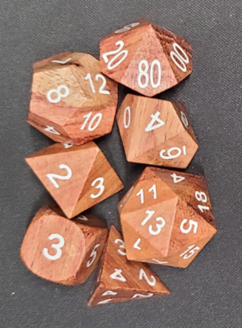 Rose Wood 7pc Dice