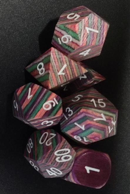 Technical Wood 7pc Dice set