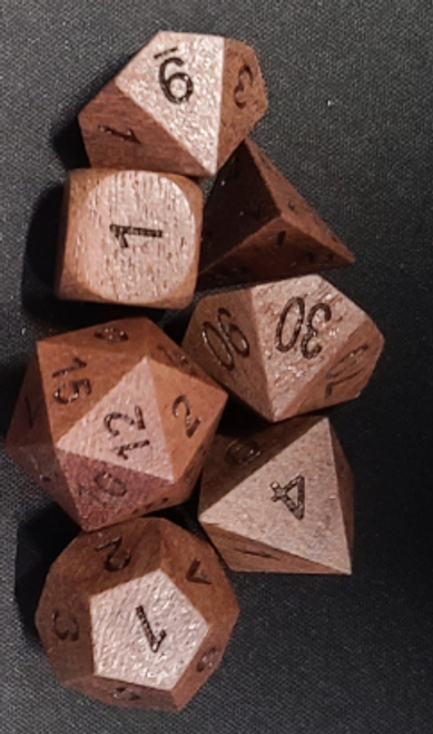 Siam Wood 7pc Dice Set