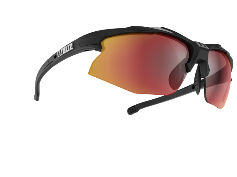 Bliz Hybrid, Rubber Black and Shiny Silver Frame, Smoke with Red Multi Lens, Spare Clear and Orange Lens Bliz™ Sunglasses 94.95 Enjoy Winter