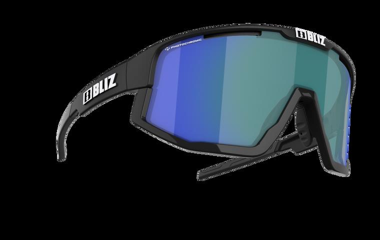 Bliz Fusion Nano Optics, Matte Black Frame, Brown with Blue Multi Photochromic Lens CAT 1-3
