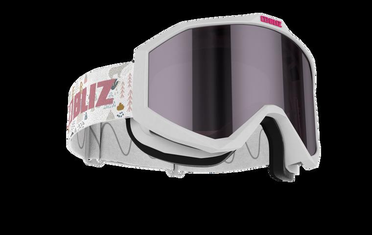 Bliz Liner JR, White Frame, Pink with Silver Mirror Lens