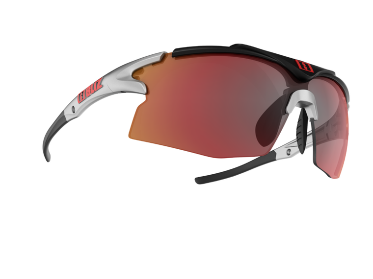 Bliz Tempo Small Face, Shiny Silver and Rubber Black Frame, Smoke with Red Multi Lens Tempo 94.95 Enjoy Winter