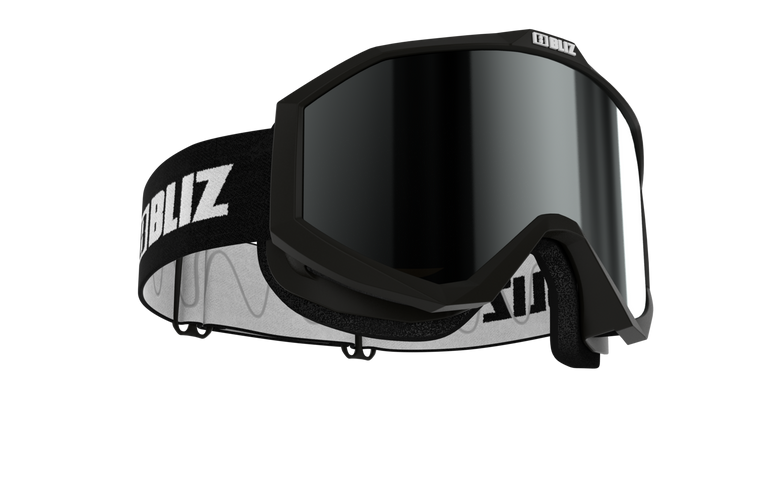 Bliz Liner JR, Black Frame, Black Strap, Brown with Silver Mirror Lens