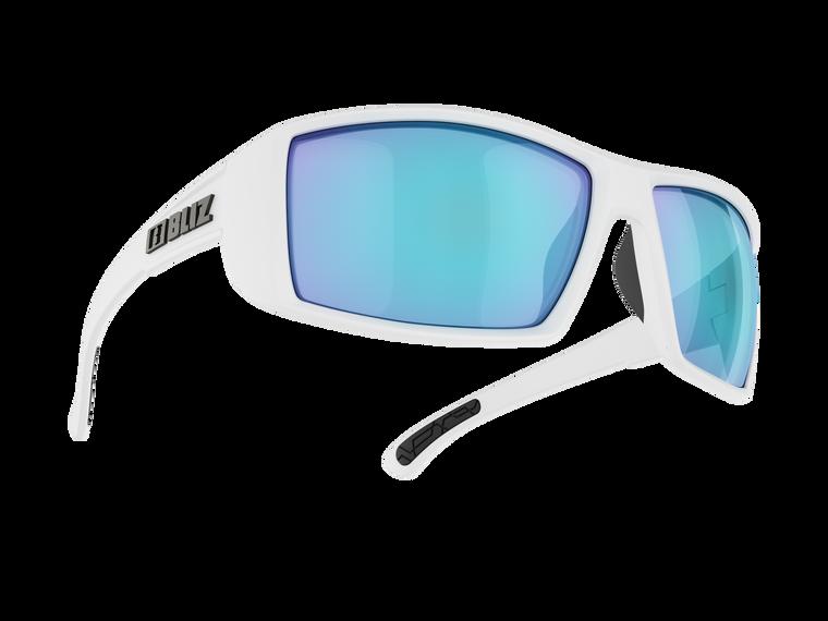 Bliz Drift, Matte White,  Smoke with Blue Multi lens