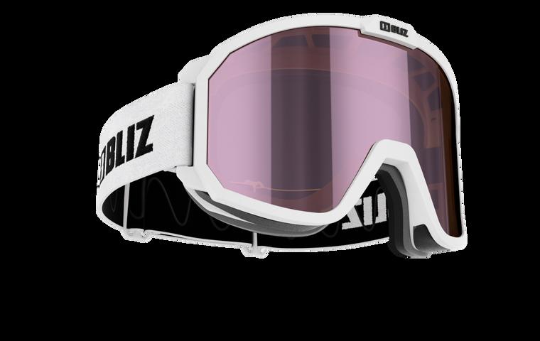 Bliz Rave JR, White Frame with Brown Ice Pink Lens