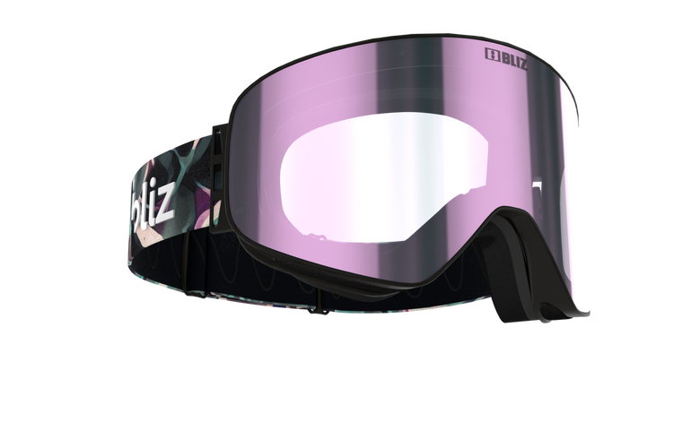 Bliz Flow,  Black Frame with Brown Ice Pink Lens