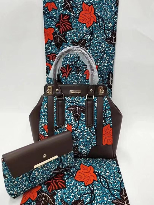 6 Yards African Print Fabrics + Matching Bag and Clutch - 100% Cotton (SBA0109)