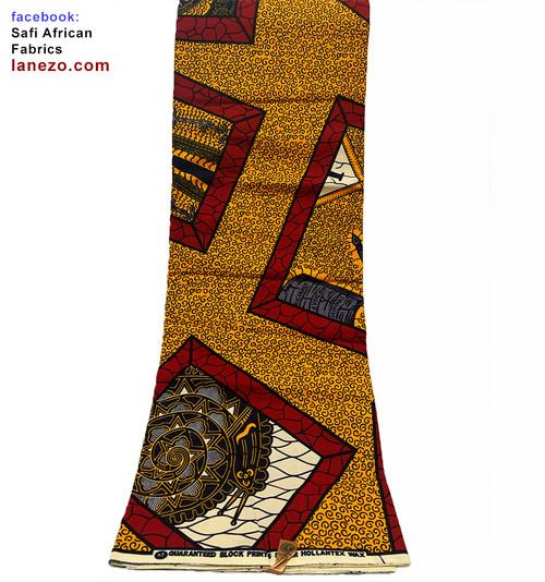 6 Yards African Print Fabrics - 100% Cotton (SAF0222)