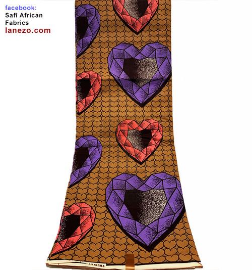 6 Yards African Print Fabrics - 100% Cotton (SAF0208)
