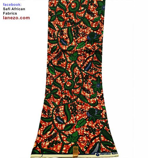 6 Yards African Print Fabrics - 100% Cotton (SAF0209)