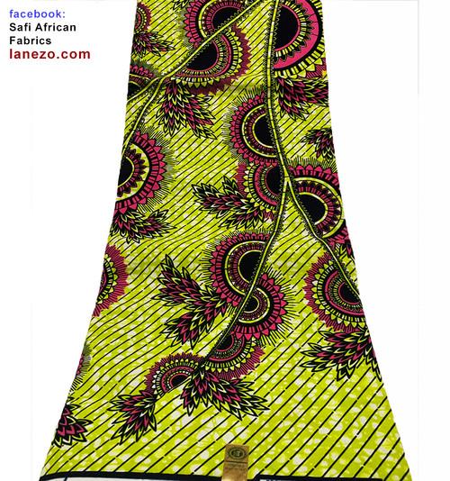 Safi African Fabrics, Ankara Wax Pattern Head Scarf Fabric, Lanezo Fabric, Kente cloth, African Print Dress, Pqdaysun, Tradictional African Clothing Ankara Headwrap Kente Fabric, 6 Yards African Print Fabrics - 100% Cotton (SAF0274)
