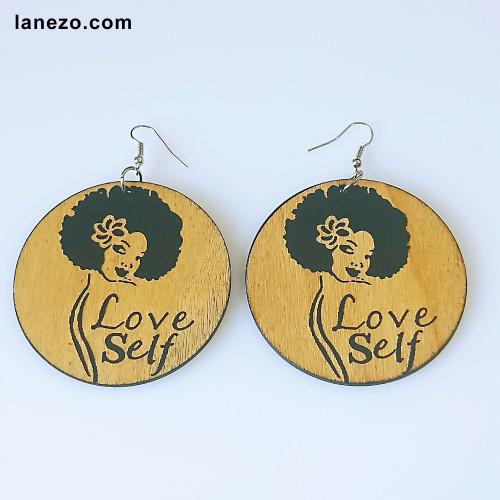 Love self Wooden Earrings