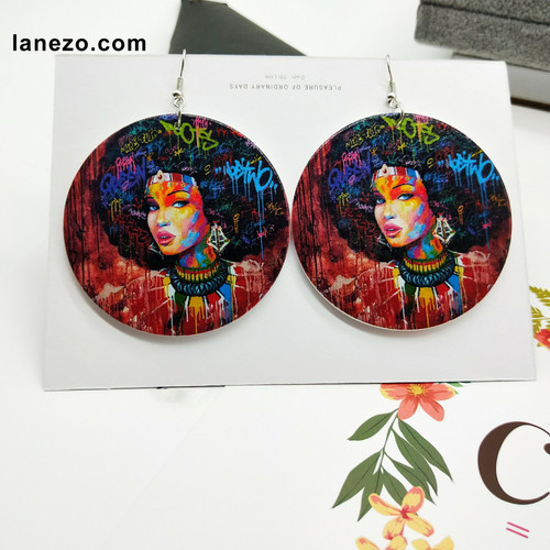 Jamaican Girl Wooden Earrings