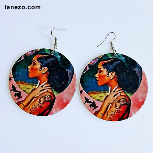 The Tattoo Girl Wooden Earrings