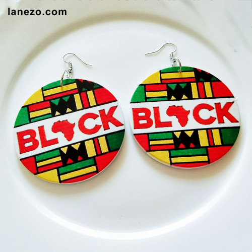 Black African Wooden Earrings
