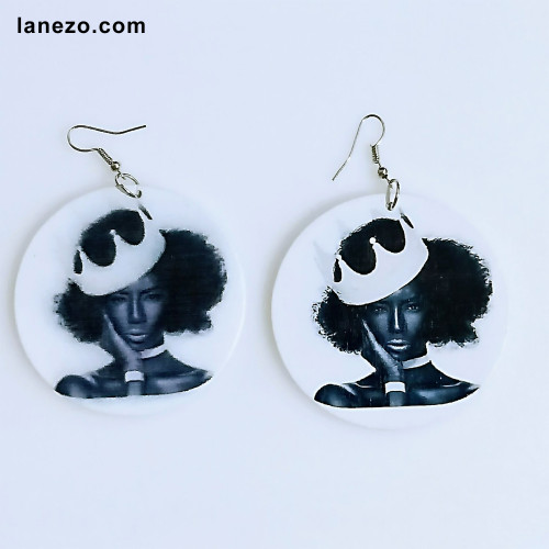 Afro Crown Wooden Earrings
