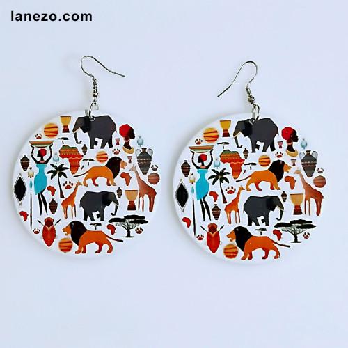 African Jungle Wooden Earrings