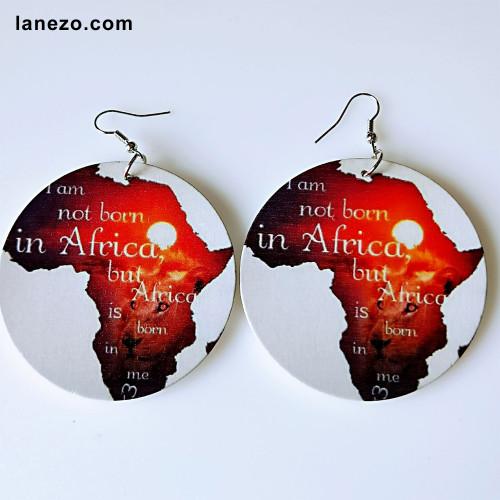 African Born In Me Wooden Earrings