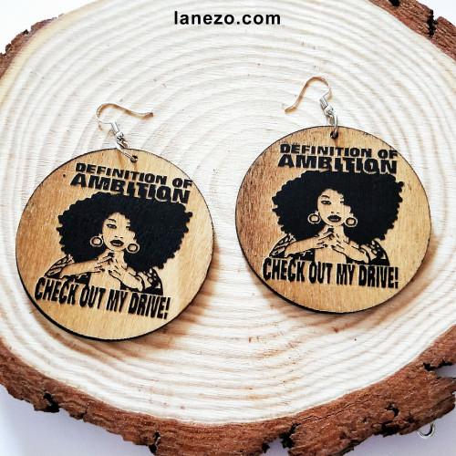 Ambition Wooden Earrings