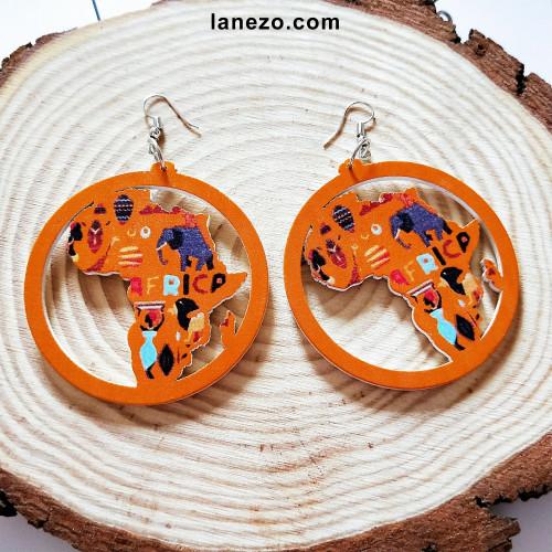 Africa Wooden Earrings
