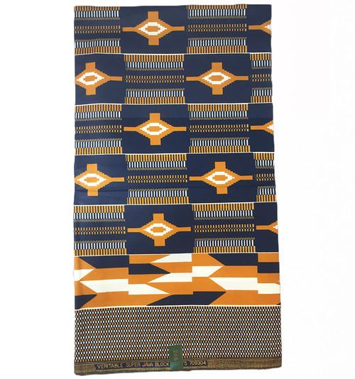 Mudcloth Ankara Wax Pattern, Head Scarf Fabric, Kente Cloth, Poly Cotton Wax Leaf Print Fabric - High Quality African Wax Fabric Print, Sewing Projects, Mudcloth, 6 Yards African Print Fabrics - 100% Cotton (SAF0189)