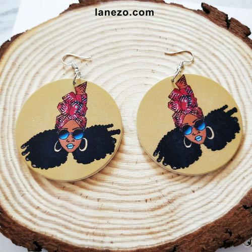 Funky Headwrap Earrings | Black Girl Earrings | Headwrap Earrings | Curly Hair Earrings | African Print Dress Earrings