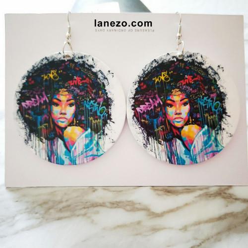 Afro Dream Earrings   Black Girl Earrings   Headwrap Earrings   Curly Hair Earrings   African Print Dress Earrings