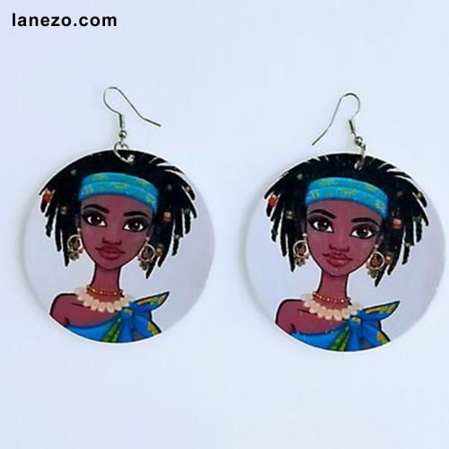 Girl in Blue Earrings Earrings | Black Girl Earrings | Headwrap Earrings | Curly Hair Earrings | African Print Dress Earrings