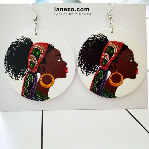 Twists Earrings | Black Girl Earrings | Headwrap Earrings | Curly Hair Earrings | African Print Dress Earrings