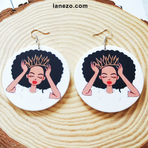 Afro Queen Earrings | Black Girl Earrings | Headwrap Earrings | Curly Hair Earrings | African Print Dress Earrings