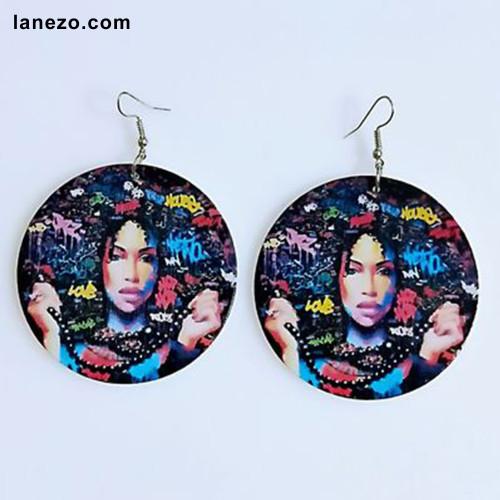 Black Pearl Girl Earrings | Black Girl Earrings | Headwrap Earrings | Curly Hair Earrings | African Print Dress Earrings