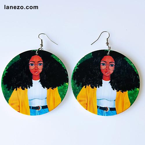 Cool Black Girl Earrings | Black Girl Earrings | Headwrap Earrings | Curly Hair Earrings | African Print Dress Earrings