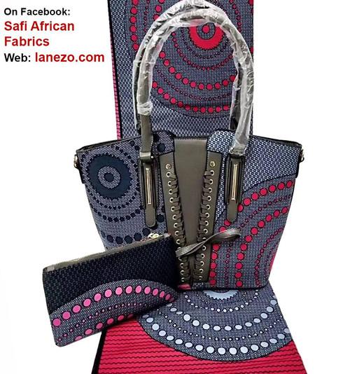 6 Yards African Fabrics + Bag and Clutch - 100% Cotton (SBA0105)