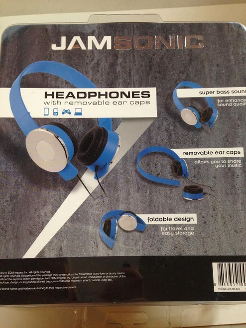 ✅ Jamsonic Blue Headphones with Removable Ear Caps