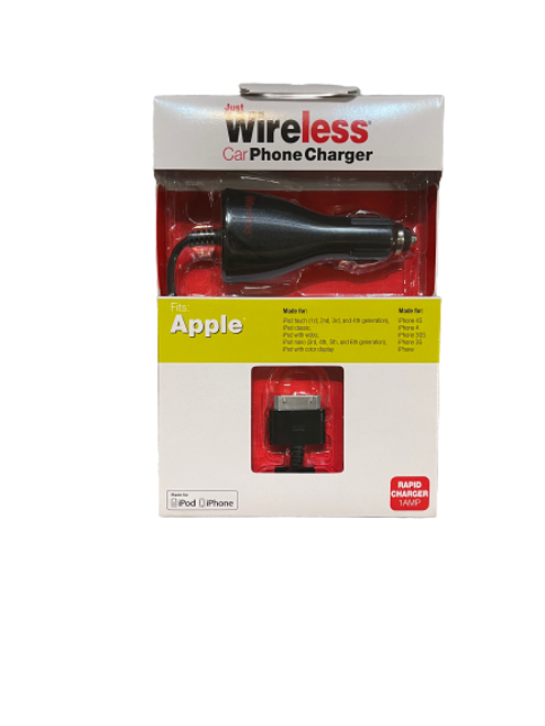 Just Wireless Car Phone Charger Fits iPhone 4,4s,3g,3gs, iPod nano 3,4,5,6, iPod