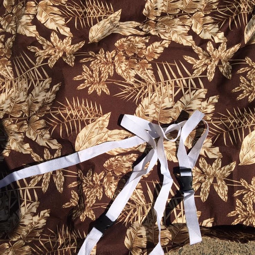 """Premium Waterproof Brown LeafPrint Barbecue BBQ cover w/straps-FitsUp to 48"""" Wide"""
