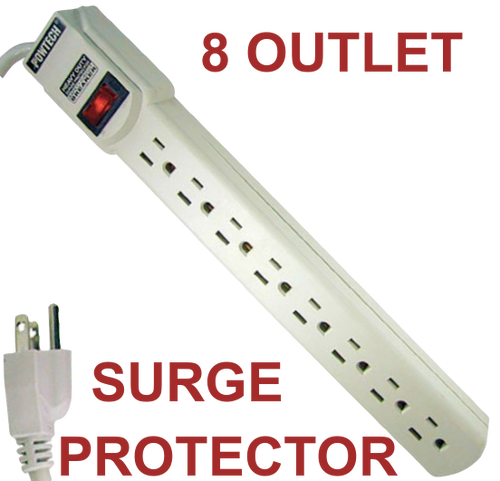 ✅ 8 Outlet Power Strip Surge Protector 15A 125V 90J - UL Listed - FREE SHIPPING!