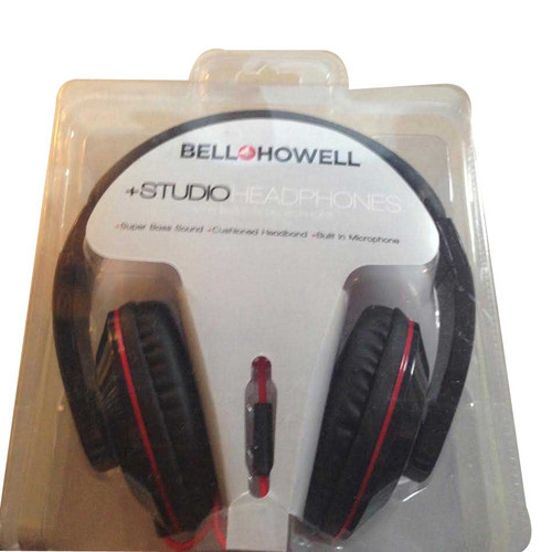 ✅ Bell Howell Black & RedStudio Headphone with Built in Microphone