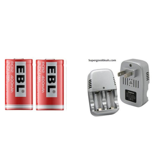 CR2 Lithium Rechargable Dual Battery Charger with TWO CR2 Rechargeable Batteries