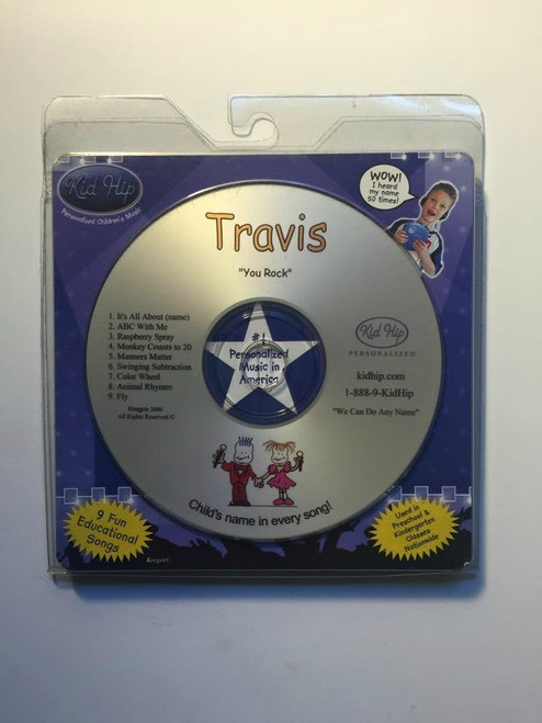 ✅KID HIP Personalized Name (Travis) CD- Hear Your Child's Name 50x In The Music