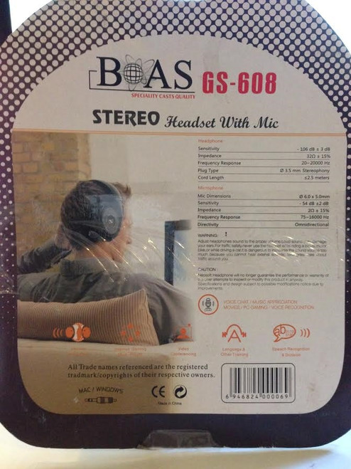 ✅BOAS GS-608 Stereo Headset with Mic