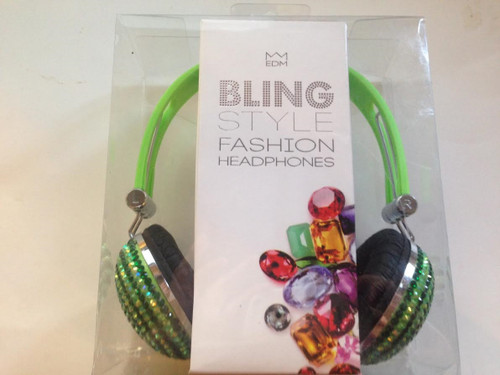 EDM Bling Style Fashion Headphones- GREEN HEADBAND/GREEN GLITTER
