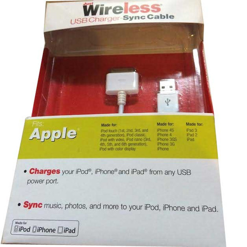 Just Wireless USB Charger- Charging Cable 30pin  iPhone  4/4s/1g/3g/3gs,iPad 1,2