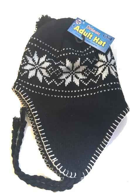 ✅ Ladies/Men Unisex Adult Hat Black Snowflake Peru Design